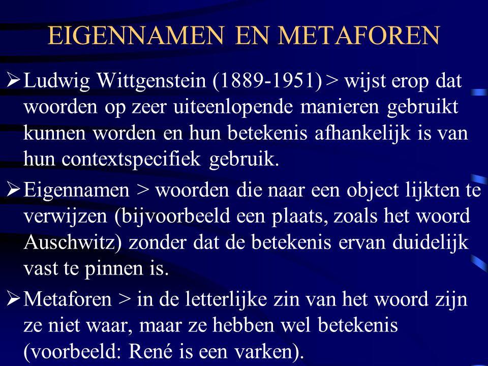 EIGENNAMEN EN METAFOREN  Ludwig Wittgenstein (1889-1951) > wijst erop dat woorden op zeer uiteenlopende manieren gebruikt kunnen worden en hun beteke