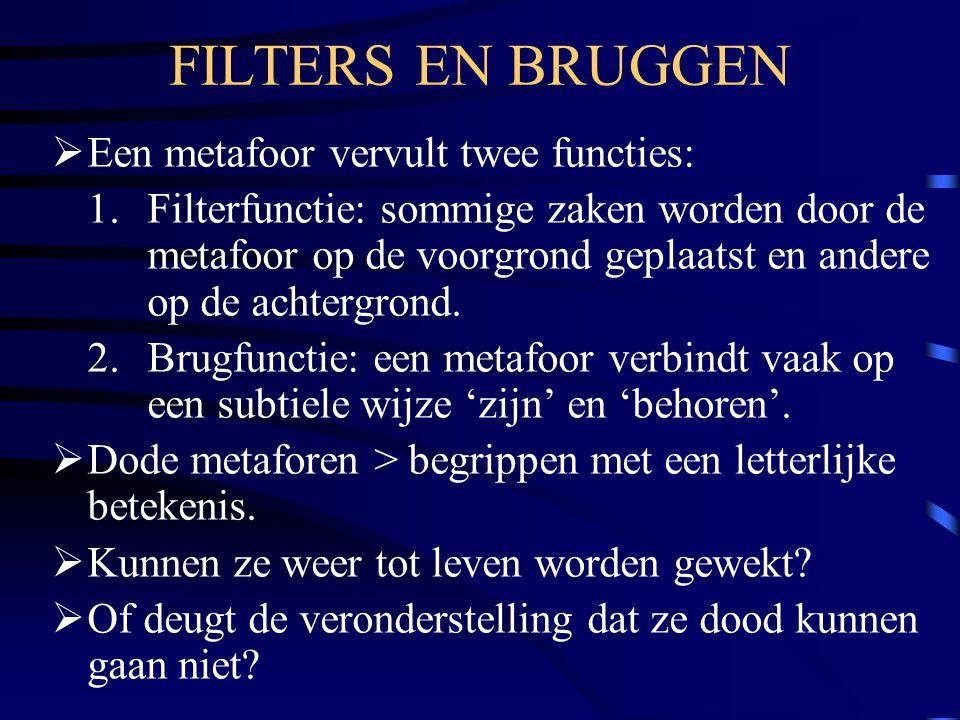 FILTERS EN BRUGGEN  Een metafoor vervult twee functies: 1.Filterfunctie: sommige zaken worden door de metafoor op de voorgrond geplaatst en andere op