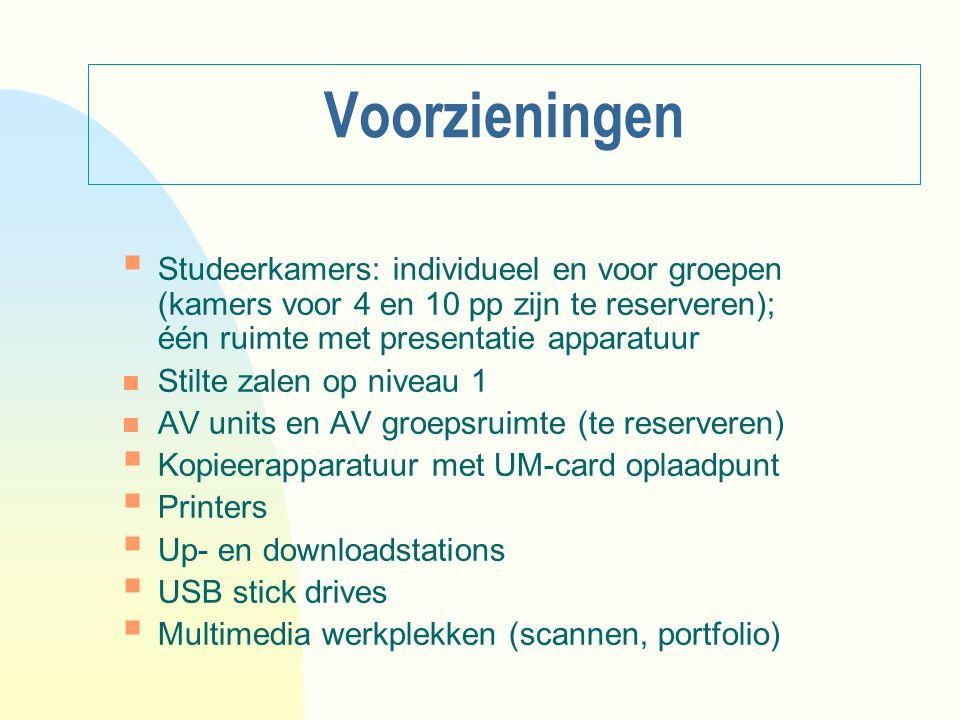 Voorzieningen  Studeerkamers: individueel en voor groepen (kamers voor 4 en 10 pp zijn te reserveren); één ruimte met presentatie apparatuur n Stilte
