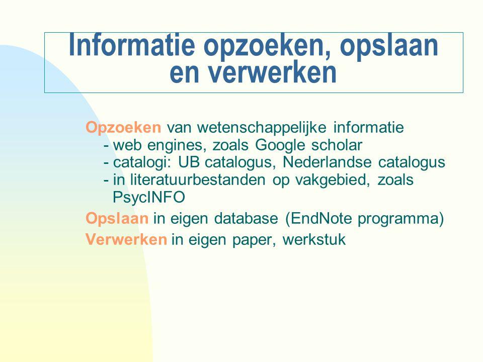 Informatie opzoeken, opslaan en verwerken Opzoeken van wetenschappelijke informatie - web engines, zoals Google scholar - catalogi: UB catalogus, Nede