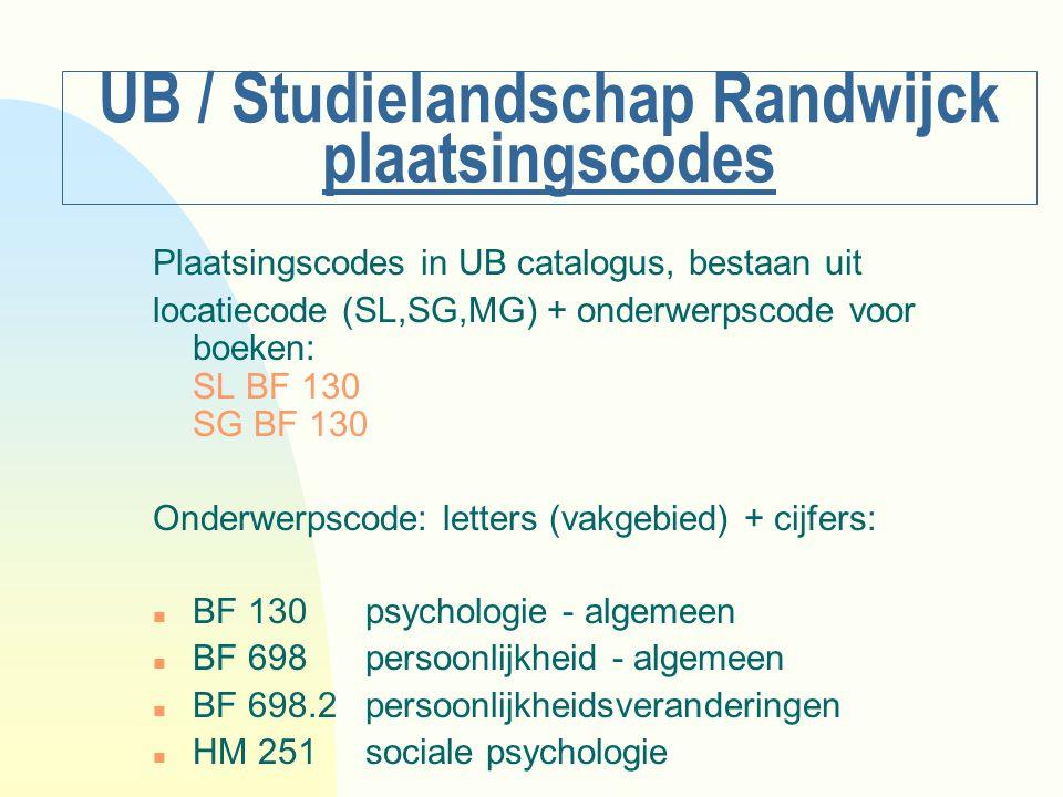 UB / Studielandschap Randwijck plaatsingscodes Plaatsingscodes in UB catalogus, bestaan uit locatiecode (SL,SG,MG) + onderwerpscode voor boeken: SL BF