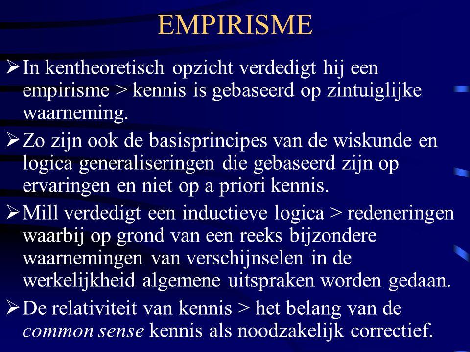 EMPIRISME  In kentheoretisch opzicht verdedigt hij een empirisme > kennis is gebaseerd op zintuiglijke waarneming.  Zo zijn ook de basisprincipes va
