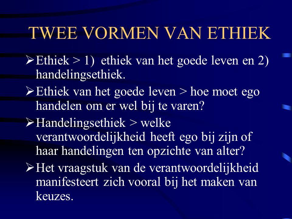TWEE VORMEN VAN ETHIEK  Ethiek > 1) ethiek van het goede leven en 2) handelingsethiek.  Ethiek van het goede leven > hoe moet ego handelen om er wel
