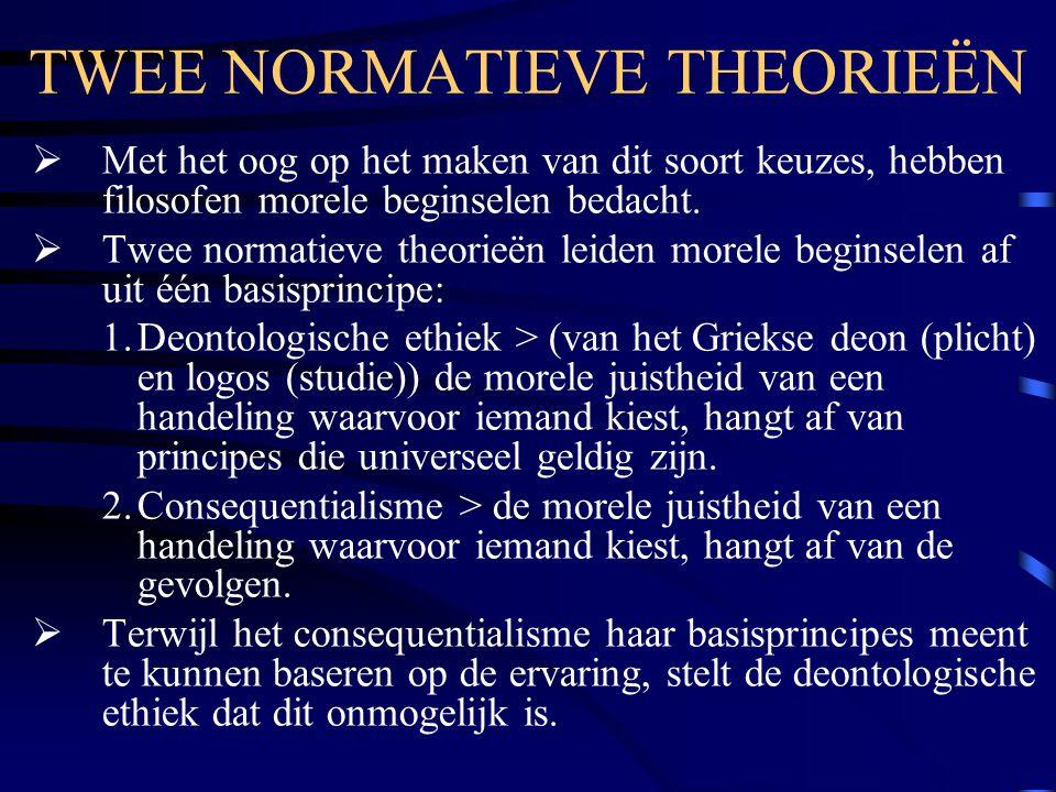 TWEE NORMATIEVE THEORIEËN  Met het oog op het maken van dit soort keuzes, hebben filosofen morele beginselen bedacht.  Twee normatieve theorieën lei