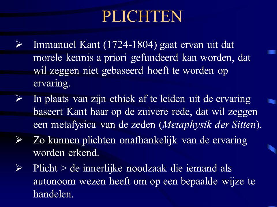 PLICHTEN  Immanuel Kant (1724-1804) gaat ervan uit dat morele kennis a priori gefundeerd kan worden, dat wil zeggen niet gebaseerd hoeft te worden op