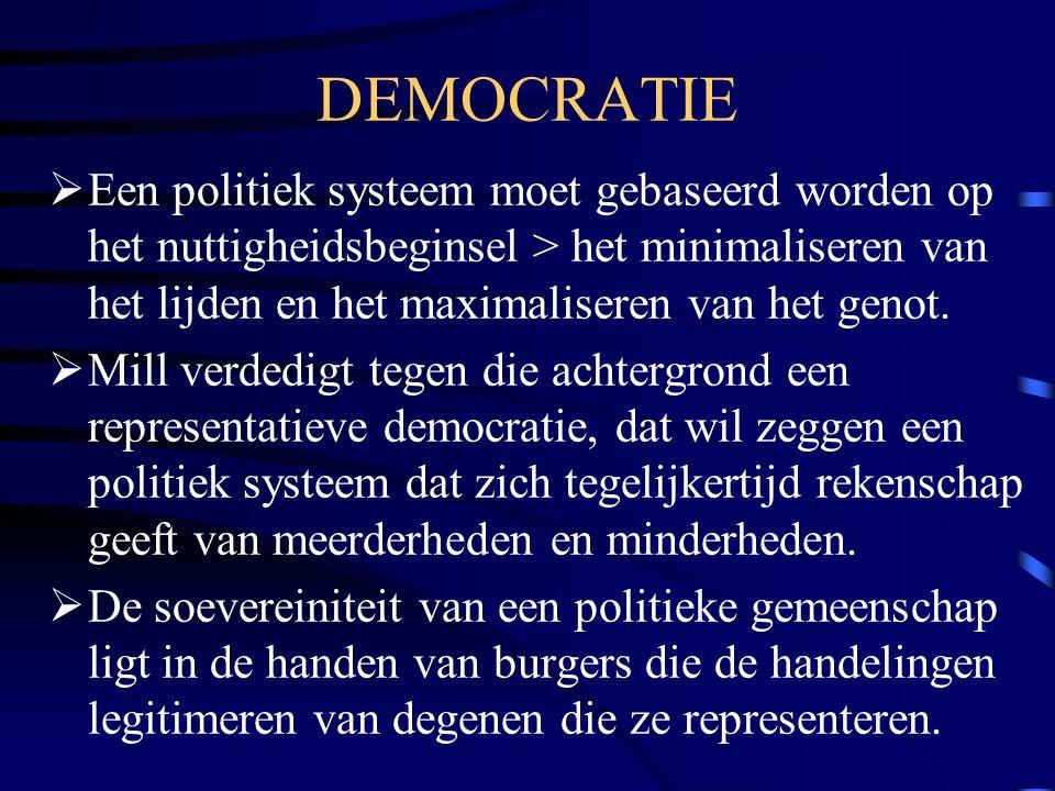 DEMOCRATIE  Een politiek systeem moet gebaseerd worden op het nuttigheidsbeginsel > het minimaliseren van het lijden en het maximaliseren van het gen