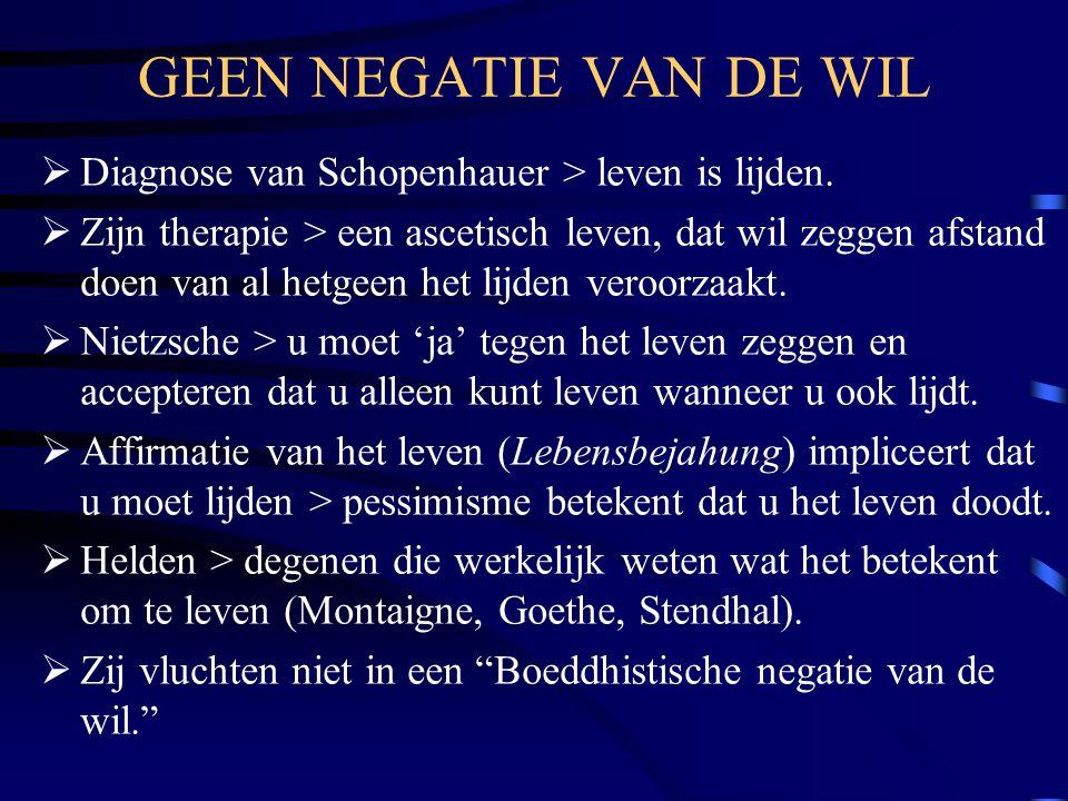 GEEN NEGATIE VAN DE WIL  Diagnose van Schopenhauer > leven is lijden.  Zijn therapie > een ascetisch leven, dat wil zeggen afstand doen van al hetge