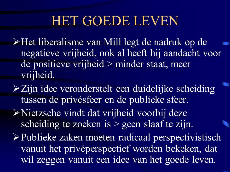 HET GOEDE LEVEN  Het liberalisme van Mill legt de nadruk op de negatieve vrijheid, ook al heeft hij aandacht voor de positieve vrijheid > minder staa