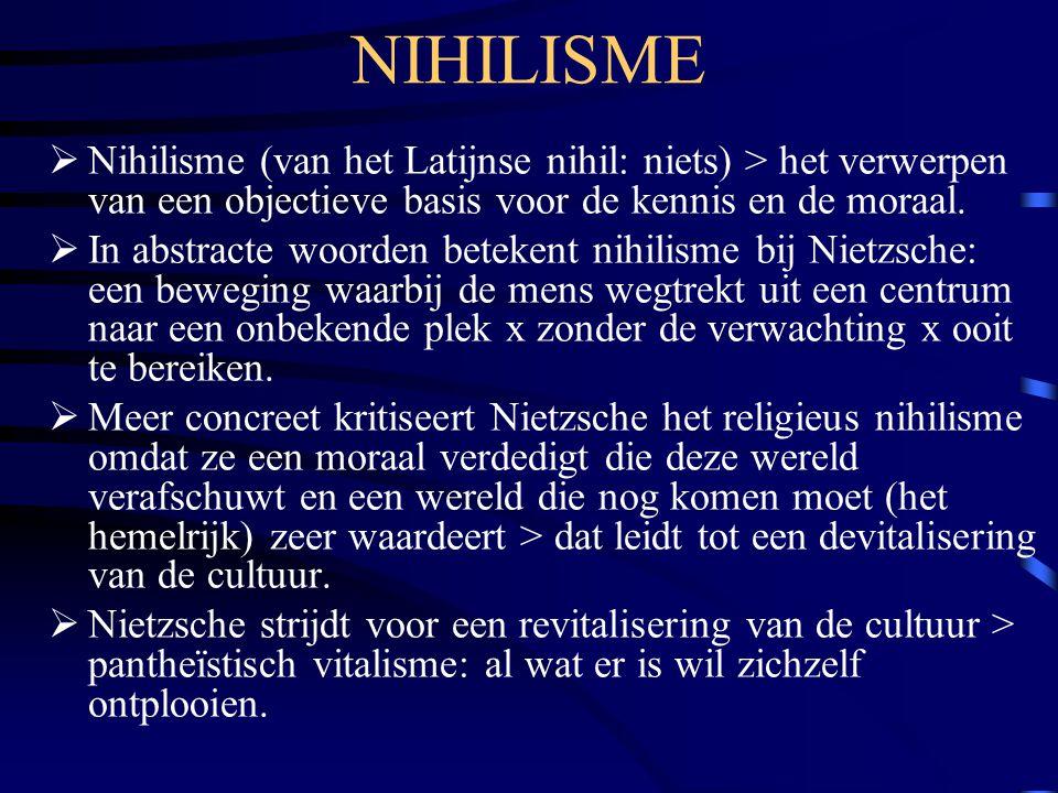 NIHILISME  Nihilisme (van het Latijnse nihil: niets) > het verwerpen van een objectieve basis voor de kennis en de moraal.  In abstracte woorden bet