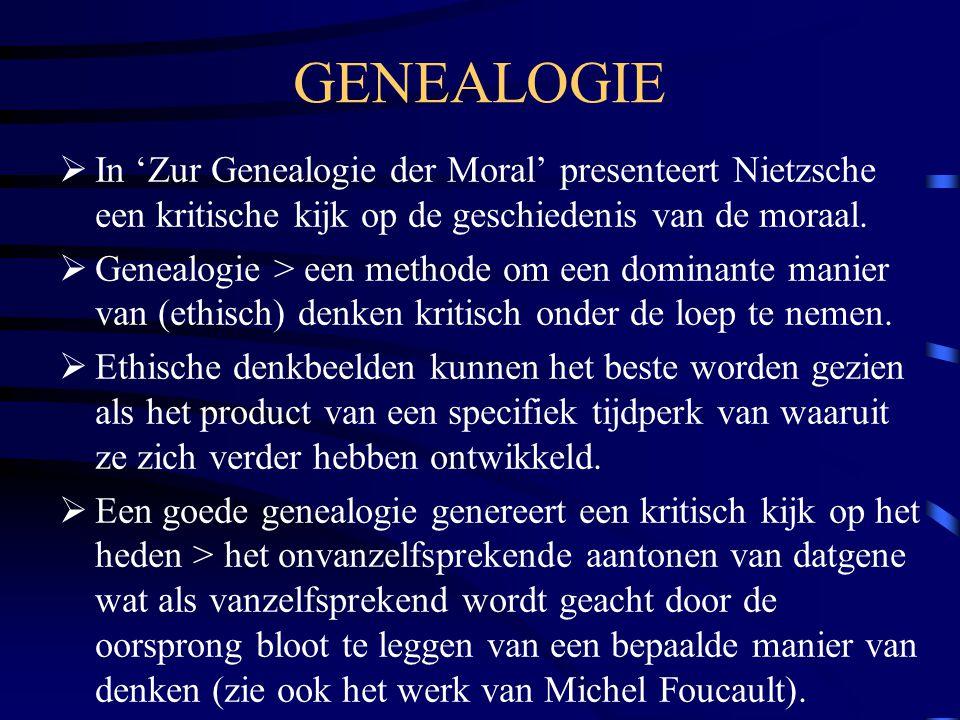 GENEALOGIE  In 'Zur Genealogie der Moral' presenteert Nietzsche een kritische kijk op de geschiedenis van de moraal.  Genealogie > een methode om ee