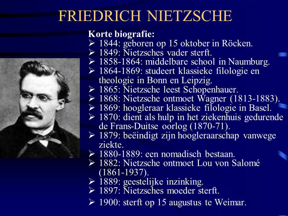 FRIEDRICH NIETZSCHE Korte biografie:  1844: geboren op 15 oktober in Röcken.  1849: Nietzsches vader sterft.  1858-1864: middelbare school in Naumb