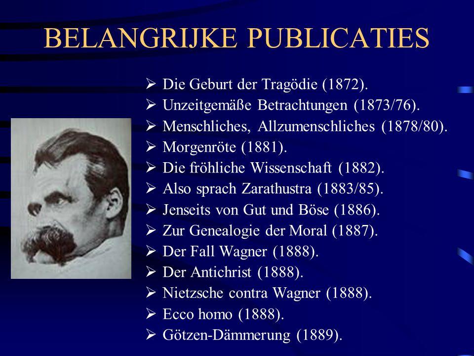BELANGRIJKE PUBLICATIES  Die Geburt der Tragödie (1872).  Unzeitgemäße Betrachtungen (1873/76).  Menschliches, Allzumenschliches (1878/80).  Morge