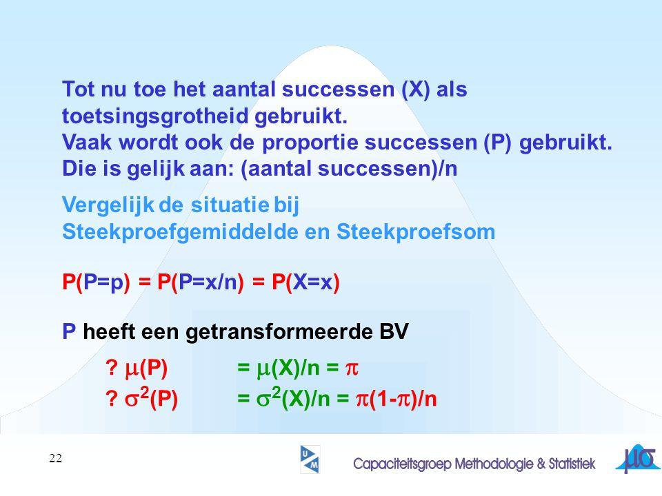 22 Tot nu toe het aantal successen (X) als toetsingsgrotheid gebruikt. Vaak wordt ook de proportie successen (P) gebruikt. Die is gelijk aan: (aantal