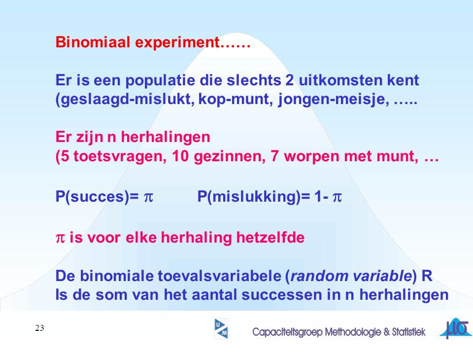 23 Binomiaal experiment…… Er is een populatie die slechts 2 uitkomsten kent (geslaagd-mislukt, kop-munt, jongen-meisje, ….. Er zijn n herhalingen (5 t