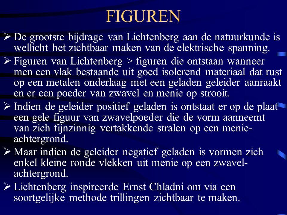 FIGUREN  De grootste bijdrage van Lichtenberg aan de natuurkunde is wellicht het zichtbaar maken van de elektrische spanning.