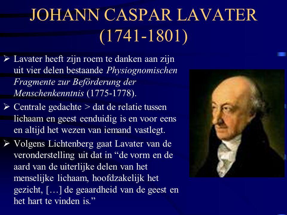 JOHANN CASPAR LAVATER (1741-1801)  Lavater heeft zijn roem te danken aan zijn uit vier delen bestaande Physiognomischen Fragmente zur Beförderung der Menschenkenntnis (1775-1778).