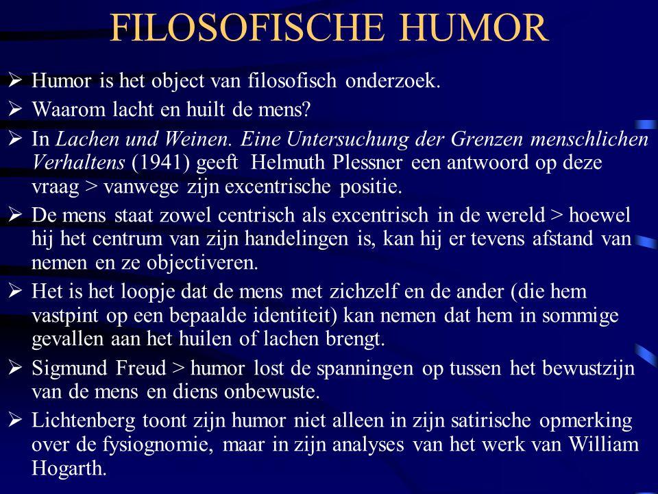 FILOSOFISCHE HUMOR  Humor is het object van filosofisch onderzoek.
