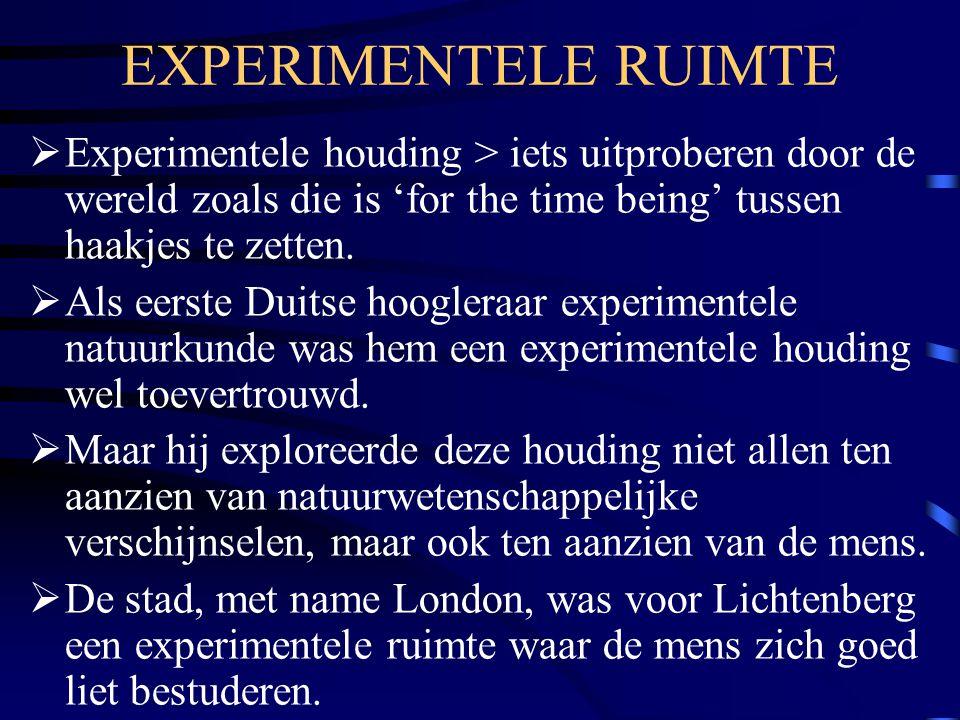 EXPERIMENTELE RUIMTE  Experimentele houding > iets uitproberen door de wereld zoals die is 'for the time being' tussen haakjes te zetten.