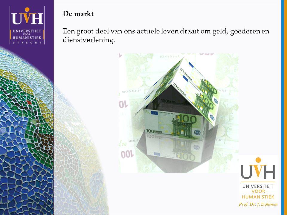 Prof. Dr. J. Dohmen De markt Een groot deel van ons actuele leven draait om geld, goederen en dienstverlening.
