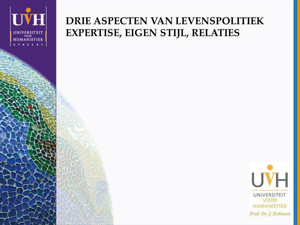 Prof. Dr. J. Dohmen DRIE ASPECTEN VAN LEVENSPOLITIEK EXPERTISE, EIGEN STIJL, RELATIES