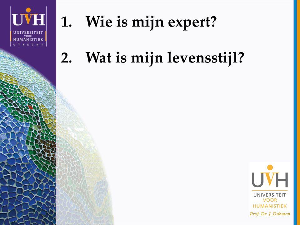Prof. Dr. J. Dohmen 1.Wie is mijn expert? 2.Wat is mijn levensstijl?