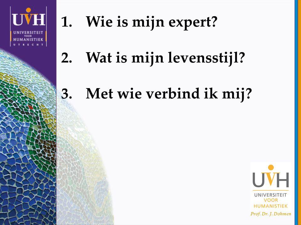 Prof. Dr. J. Dohmen 1.Wie is mijn expert? 2.Wat is mijn levensstijl? 3.Met wie verbind ik mij?