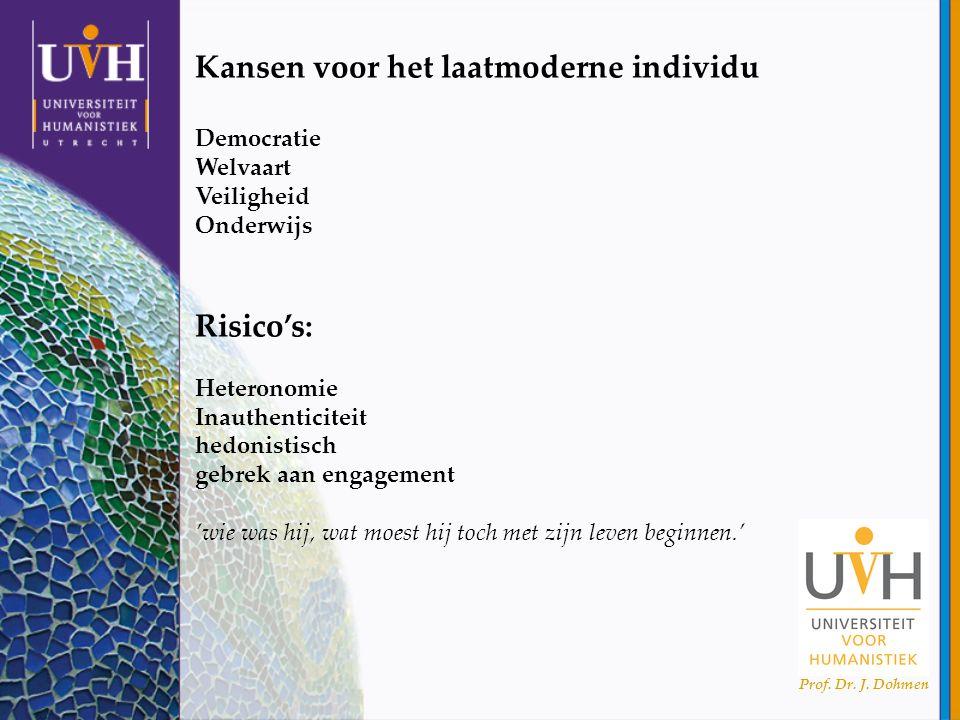 Prof. Dr. J. Dohmen Kansen voor het laatmoderne individu Democratie Welvaart Veiligheid Onderwijs Risico's: Heteronomie Inauthenticiteit hedonistisch