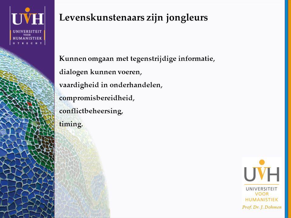 Prof. Dr. J. Dohmen Levenskunstenaars zijn jongleurs Kunnen omgaan met tegenstrijdige informatie, dialogen kunnen voeren, vaardigheid in onderhandelen