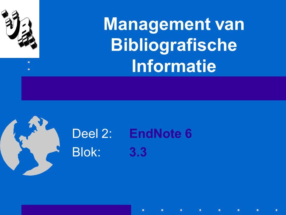 Vaardigheidstraining EndNote Doelen van deze vaardigheidstraining beheren van literatuurgegevens een werkstuk voorzien van literatuurverwijzingen Aanpak van de training Inleiding: wat is EndNote.