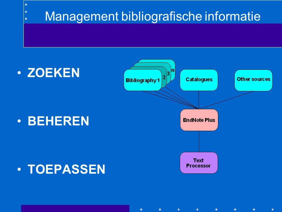 EndNote 6 Database (kaartenbak) programma speciaal voor literatuurgegevens Library (file, bestand) bestaat uit references (records, kaartjes) Reference bestaat uit fields (titel,auteur,etc) verschillende reference types voor tijdschriftartikelen, boeken etc.