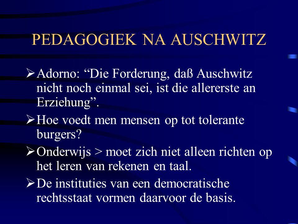 """PEDAGOGIEK NA AUSCHWITZ  Adorno: """"Die Forderung, daß Auschwitz nicht noch einmal sei, ist die allererste an Erziehung"""".  Hoe voedt men mensen op tot"""