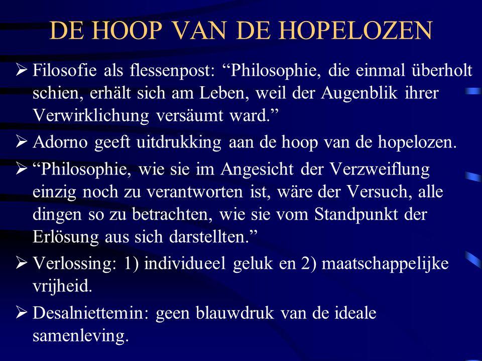 """DE HOOP VAN DE HOPELOZEN  Filosofie als flessenpost: """"Philosophie, die einmal überholt schien, erhält sich am Leben, weil der Augenblik ihrer Verwirk"""