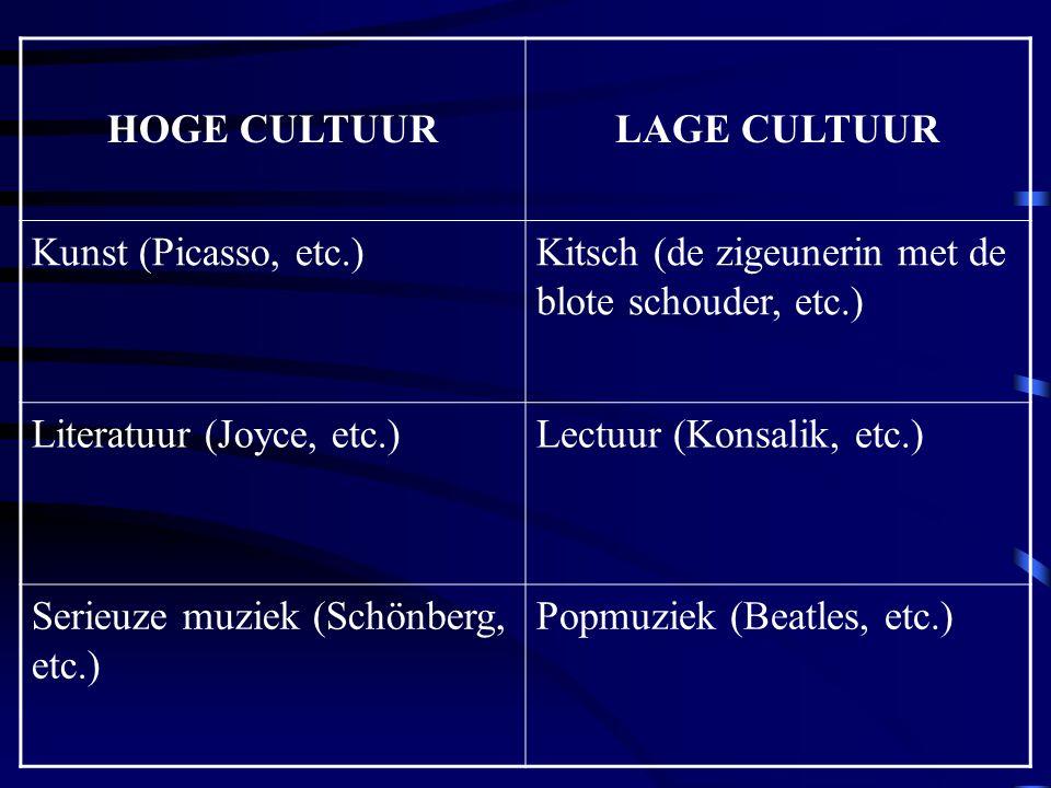 HOGE CULTUURLAGE CULTUUR Kunst (Picasso, etc.)Kitsch (de zigeunerin met de blote schouder, etc.) Literatuur (Joyce, etc.)Lectuur (Konsalik, etc.) Seri