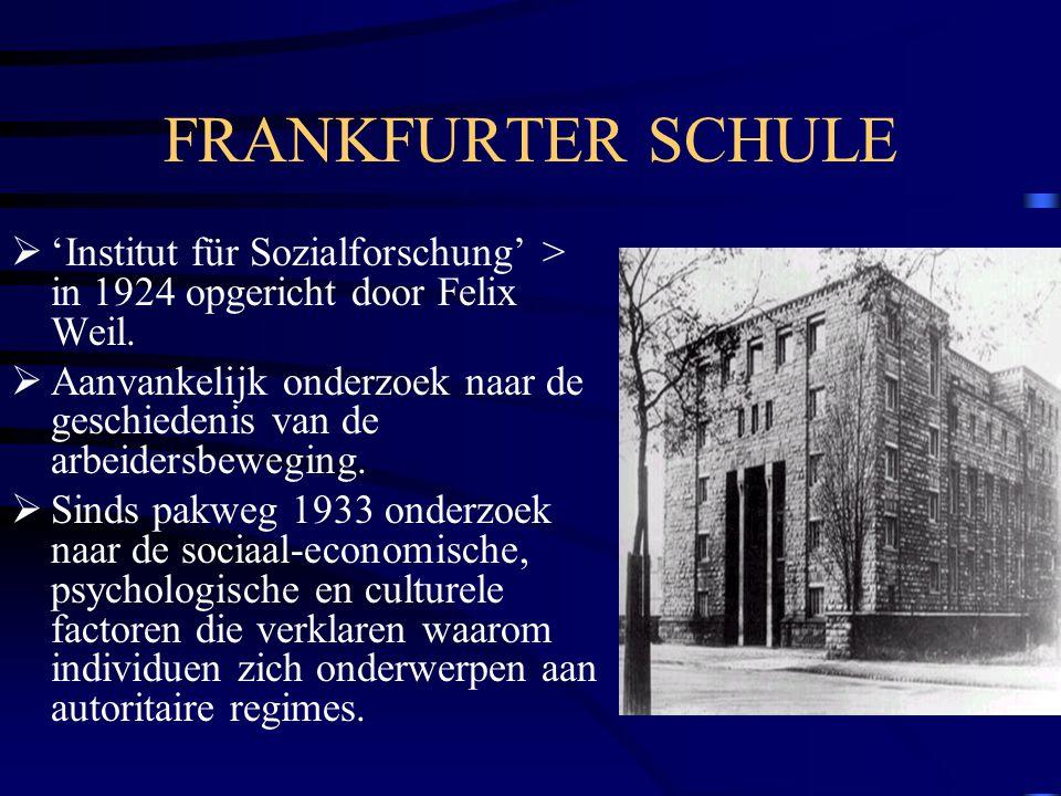FRANKFURTER SCHULE  'Institut für Sozialforschung' > in 1924 opgericht door Felix Weil.  Aanvankelijk onderzoek naar de geschiedenis van de arbeider