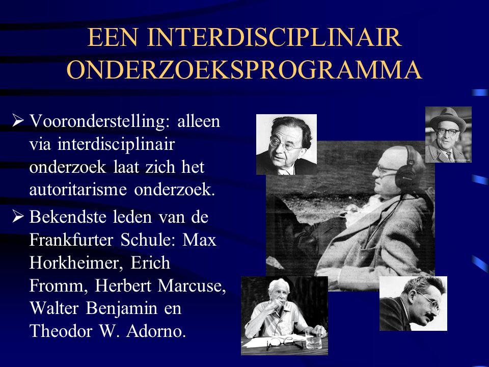 EEN INTERDISCIPLINAIR ONDERZOEKSPROGRAMMA  Vooronderstelling: alleen via interdisciplinair onderzoek laat zich het autoritarisme onderzoek.  Bekends