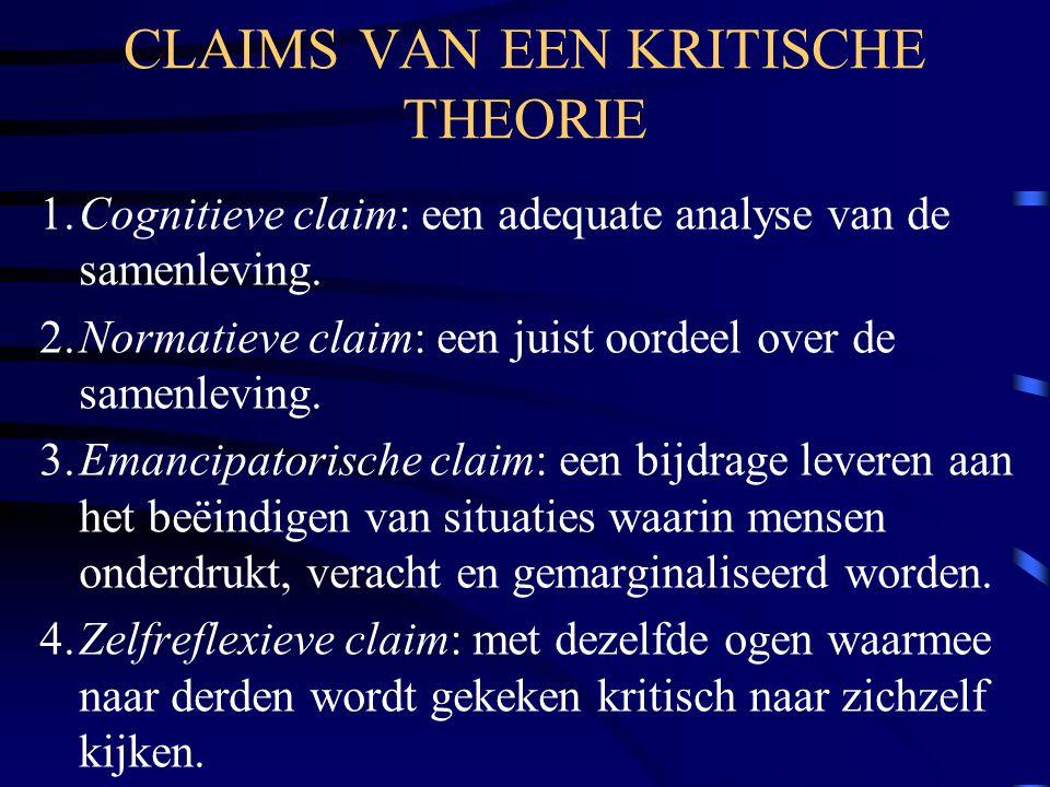 CLAIMS VAN EEN KRITISCHE THEORIE 1.Cognitieve claim: een adequate analyse van de samenleving. 2.Normatieve claim: een juist oordeel over de samenlevin