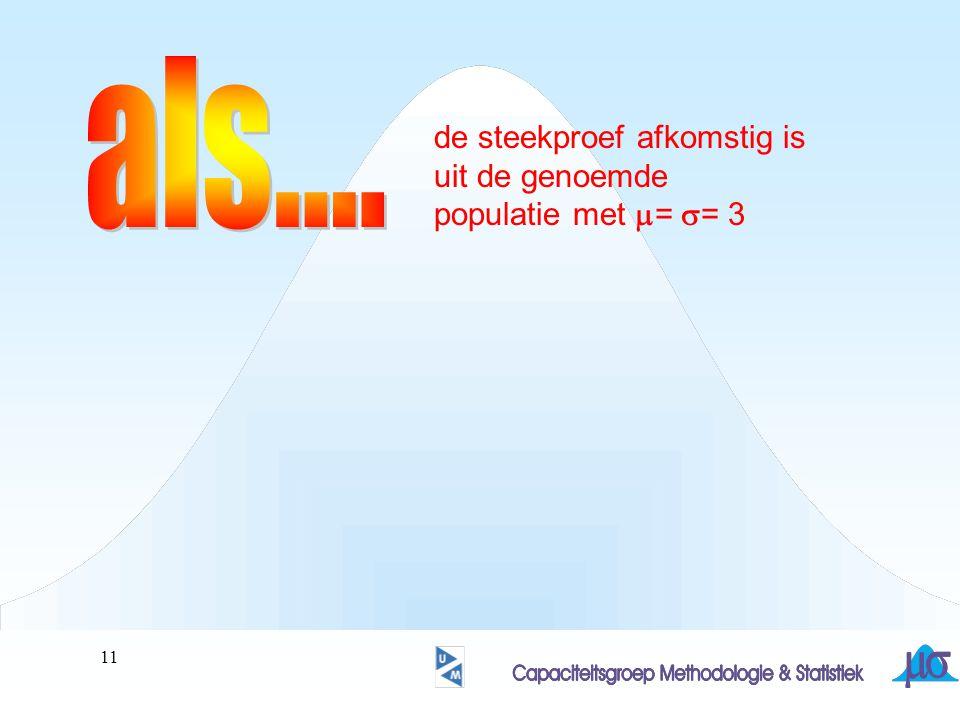 12 de steekproef afkomstig is uit de genoemde populatie met  =  = 3 is het gevonden gemiddelde (= 4.26) een exemplaar uit de verdeling van gemiddelden van steekproeven met n= 25