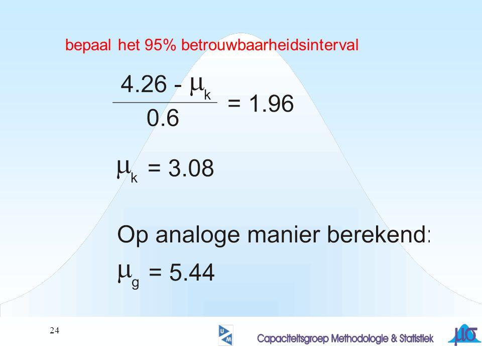 25 Het 95% betrouwbaarheidsinterval bevat de waarden 3.08 …… 5.44 De waarde van  (=3) maakt geen deel uit van dit interval.