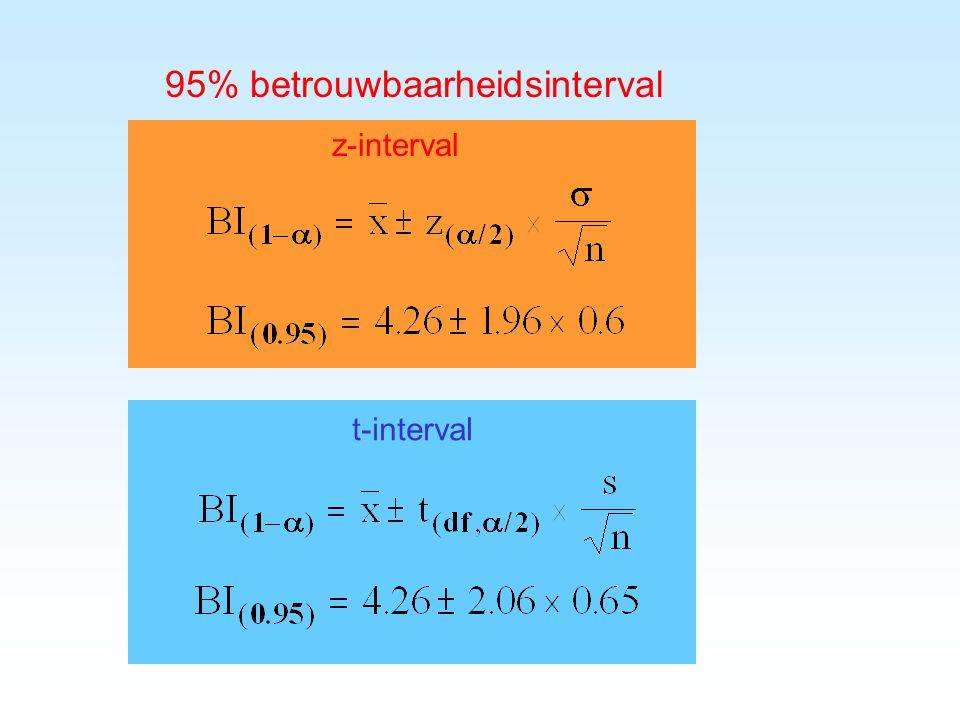 31 op basis van  : z-interval op basis van s: t-interval z-interval smaller/breder dan t-interval.