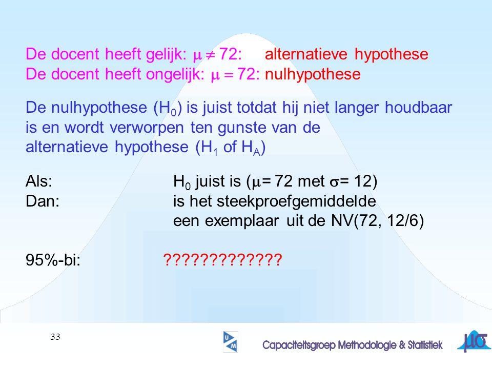 34 De docent heeft gelijk:  72: alternatieve hypothese De docent heeft ongelijk:  72: nulhypothese De nulhypothese (H 0 ) is juist totdat hij niet langer houdbaar is en wordt verworpen ten gunste van de alternatieve hypothese (H 1 of H A ) Als: H 0 juist is (  = 72 met  = 12) Dan:is het steekproefgemiddelde een exemplaar uit de NV(72, 12/6) 95%-bi:71.28 … (75.2) … 79.12 CONCLUSIE ?????
