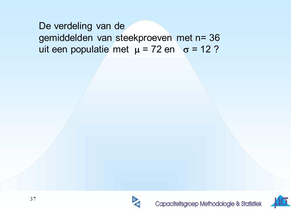 38 De verdeling van de gemiddelden van steekproeven met n= 36 uit een populatie met  = 72 en  = 12 .