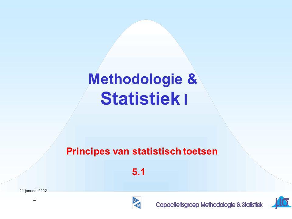 5 Principes van statistisch toetsen Noodzakelijk voor een goed begrip van andere statistische onderwerpen