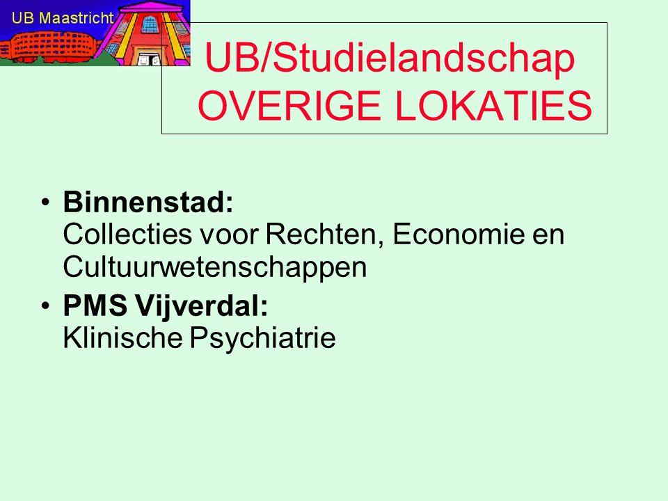 UB/Studielandschap OVERIGE LOKATIES Binnenstad: Collecties voor Rechten, Economie en Cultuurwetenschappen PMS Vijverdal: Klinische Psychiatrie