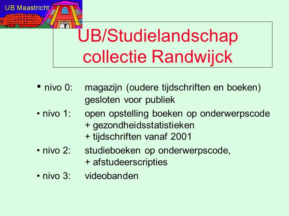 UB/Studielandschap collectie Randwijck nivo 0: magazijn (oudere tijdschriften en boeken) gesloten voor publiek nivo 1:open opstelling boeken op onderwerpscode + gezondheidsstatistieken + tijdschriften vanaf 2001 nivo 2:studieboeken op onderwerpscode, + afstudeerscripties nivo 3: videobanden