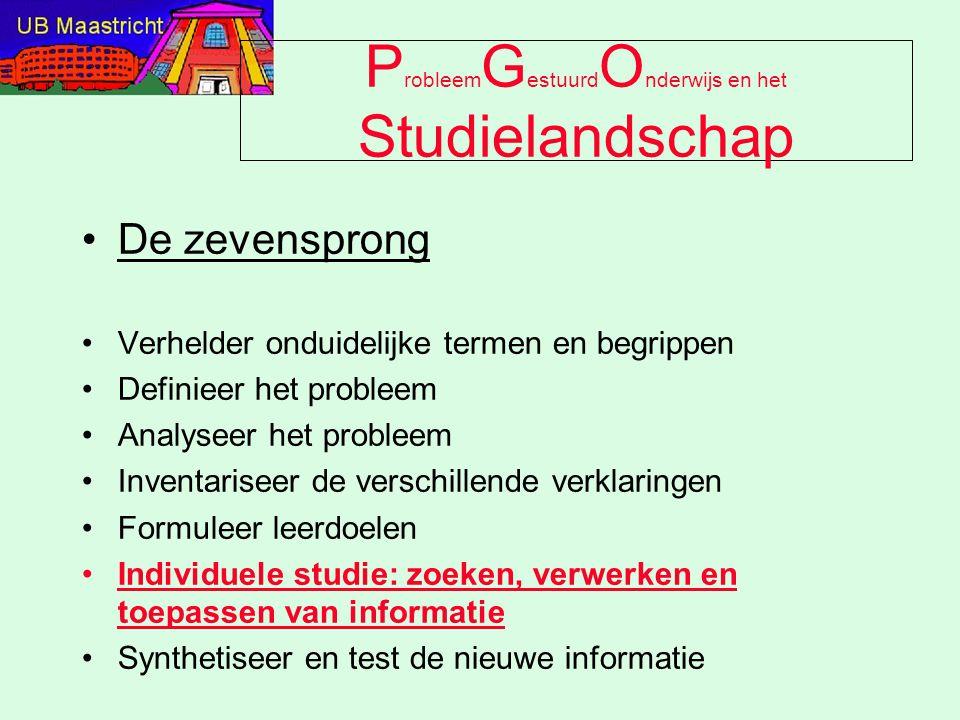 P robleem G estuurd O nderwijs en het Studielandschap De zevensprong Verhelder onduidelijke termen en begrippen Definieer het probleem Analyseer het p