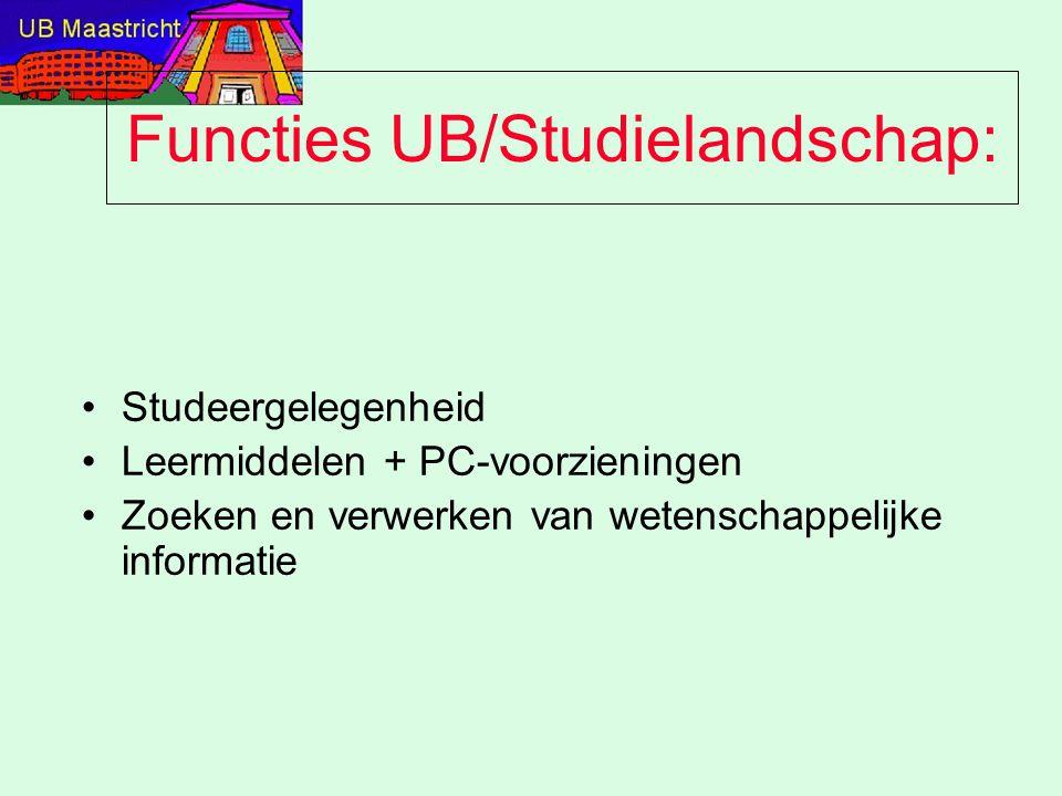 Functies UB/Studielandschap: Studeergelegenheid Leermiddelen + PC-voorzieningen Zoeken en verwerken van wetenschappelijke informatie