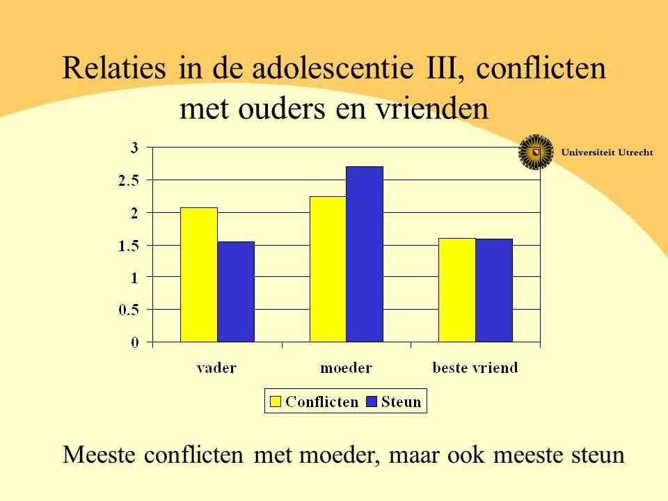 Relaties in de adolescentie III, conflicten met ouders en vrienden Meeste conflicten met moeder, maar ook meeste steun