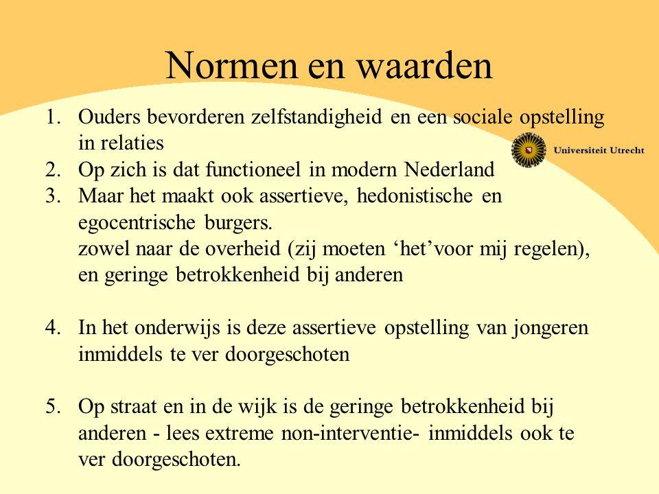 Normen en waarden 1.Ouders bevorderen zelfstandigheid en een sociale opstelling in relaties 2.Op zich is dat functioneel in modern Nederland 3.Maar he