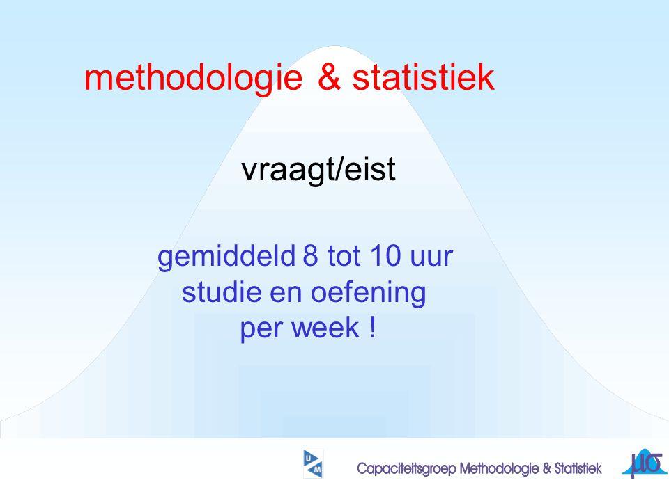 methodologie & statistiek vraagt/eist gemiddeld 8 tot 10 uur studie en oefening per week !