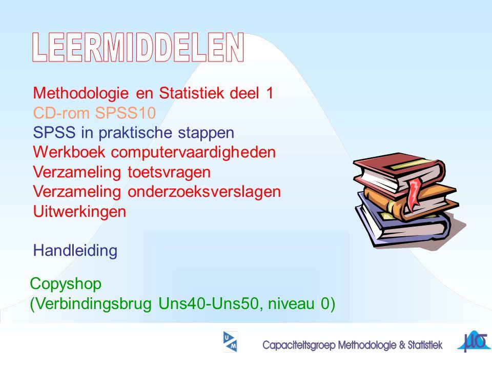 Methodologie en Statistiek deel 1 CD-rom SPSS10 SPSS in praktische stappen Werkboek computervaardigheden Verzameling toetsvragen Verzameling onderzoeksverslagen Uitwerkingen Handleiding Copyshop (Verbindingsbrug Uns40-Uns50, niveau 0)